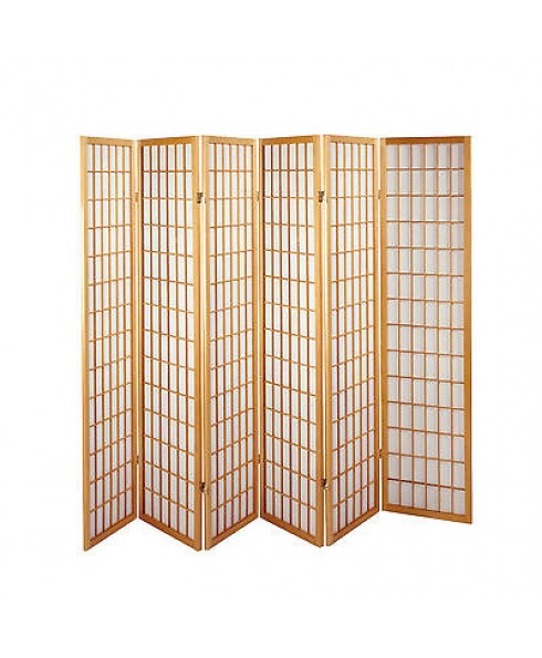Solid Timber Wooden Natural 6 Panel Fold Screen Room Divider